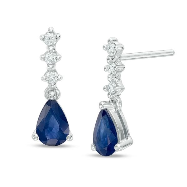 Pear Shaped Blue Sapphire And Diamond Accent Drop Earrings In 10k White Gold White Gold Drop Earrings Blue Sapphire