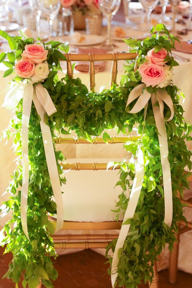 Green Garland and Pink Rose Chair Decor