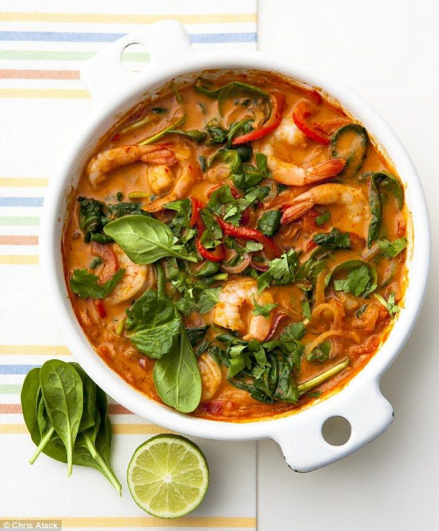 5:2 Prawn curry, serves 2 (222 cals) 2 tbsp medium or hot curry paste (Patak's Tikka Masala paste works well) 2 tbsp cold water, 1 red onion, 1 red pepper, 1 whole red chilli, deseeded, 1 tbsp mango chutney, 3 large ripe tomatoes, 150ml half-fat coconut milk, 200g king prawns, 100g baby spinach leaves, coriander and lime juice