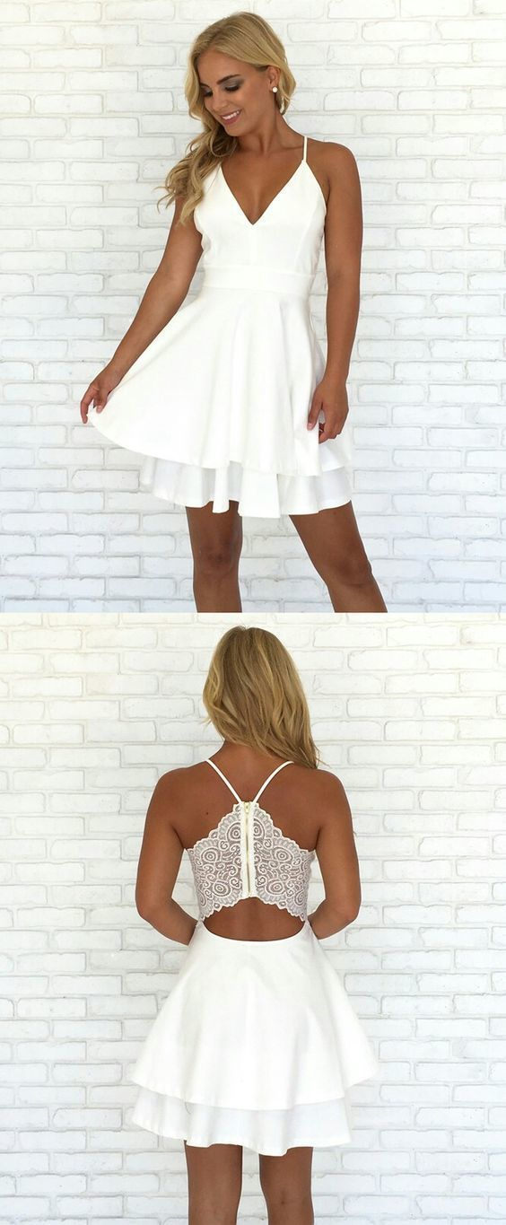 82f3d2593f4 A-Line Spaghetti Straps Short Tiered White Satin Homecoming Dress with Lace