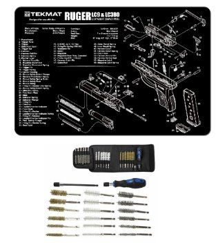 "Ultimate Arms Gear Gunsmith & Armorer's Cleaning Work Tool Bench Gun Mat For Ruger LC9 LC-9 LC380 LC-380 Lightweight Light Weight Compact Pistol Handgun + Deluxe 21 pc Cleaning Tube Chamber Barrel Care Supplies Kit Handgun Pistol Cleaning Kit in Field Travel Carry Pack Case + Hex Shaft Extension with Lock on End for a Firm Grip Handle for 14"" Hard To Reach Deep Long Areas + 18 pc Stainless Steel / Nylon / Brass Brushes 9mm, 11mm, 13mm, 15mm, 17mm, & 19mm"