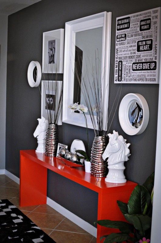 Gray and Red Entryway like the idea with maybe another colour instead of red