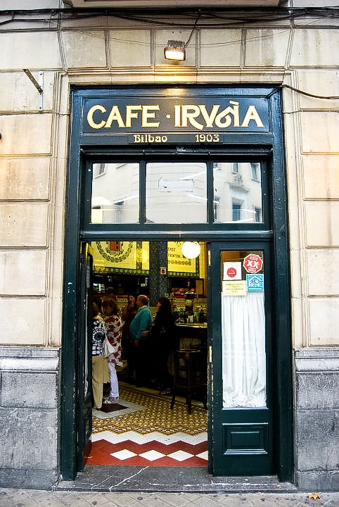 "CAFÉ IRUÑA, Jardines de Albia. It is one of Bilbao's oldest cafés. Ask for  a ""pintxo moruno"" and you""ll repeat!"