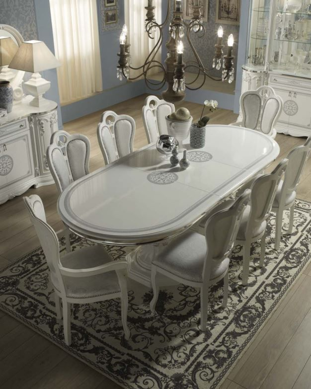 Geena White High Gloss Italian Made Oval Extending Dining Table