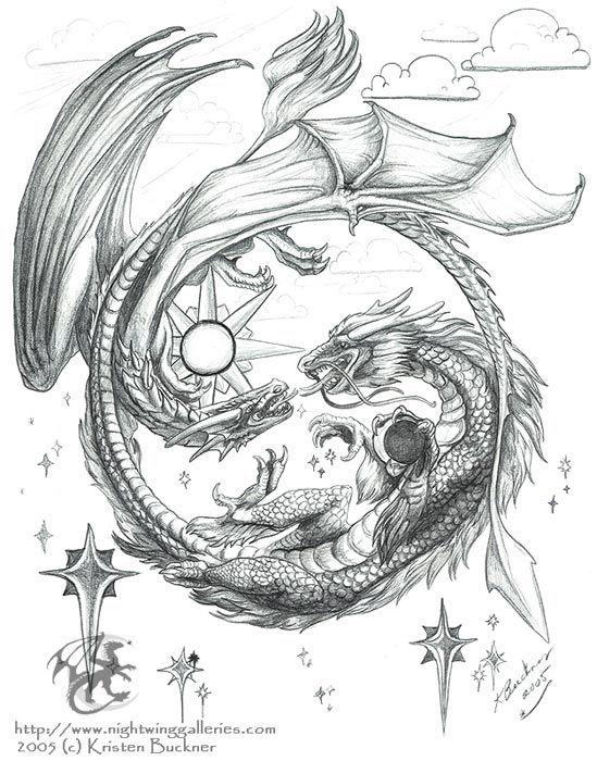 Grey Ink Dragons Tattoo Design Dragons