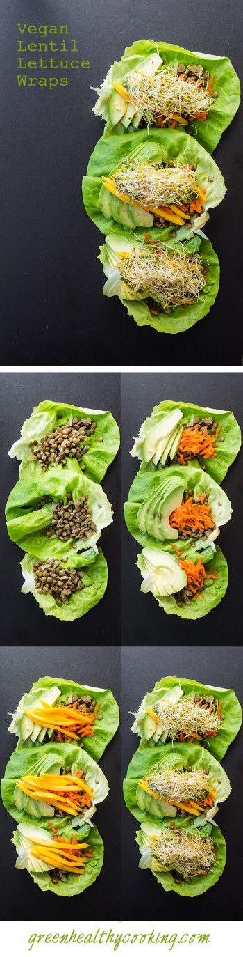 Vegan Lentil Lettuce Wraps by greenhealthycooking: Quick, easy and healthy! #Lettuce_Wraps #Lentil #Vegan