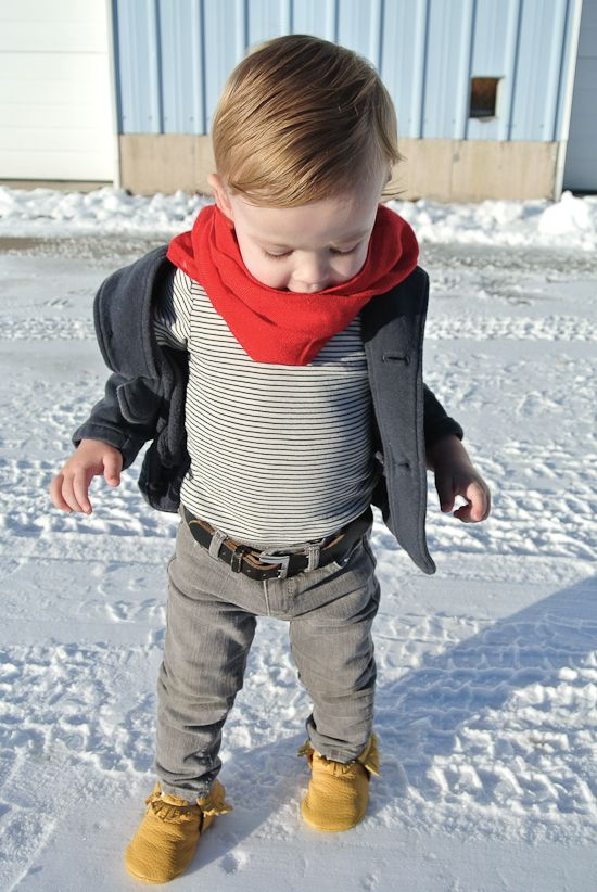 This is adorable, but I'm just imagining changing this kid's diaper several times a day. In skinny jeans. With a belt.