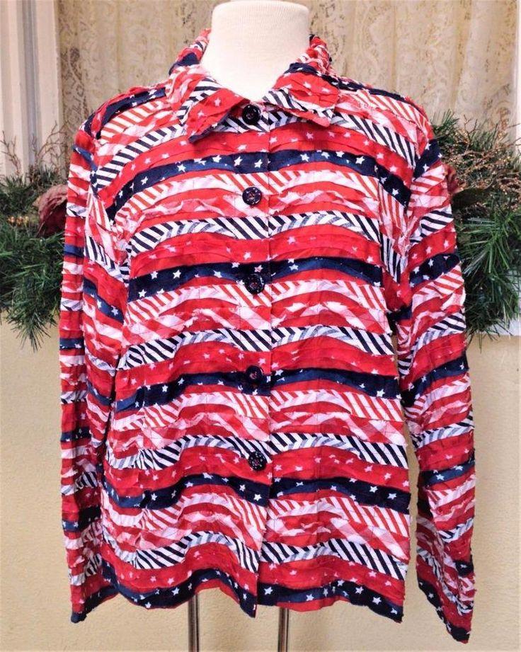 Keren Hart Fabric Strip Jacket XL Patriotic Flag Red White Blue Stars Stripes  #KarenHart #BasicJacket #Casual