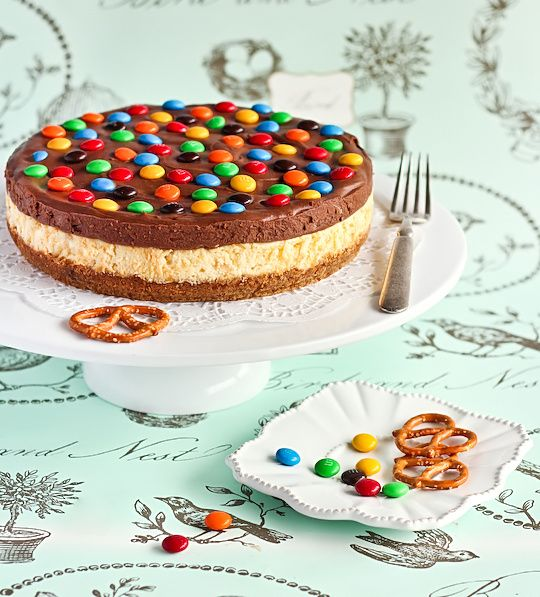 Pretzel and M Chocolate Cheesecake