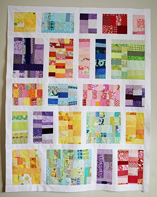 scrap quilt  Great layout for those crumb blocks.