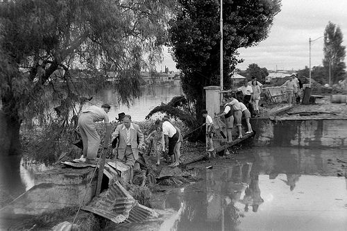 People inspecting flood damage, 1955: Lucey Collection