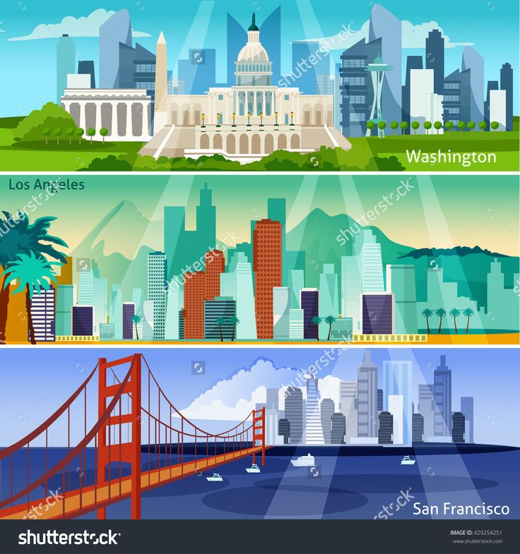 American Cityscapes Flat Horizontal Banner Set Isolated Vector Illustration - 429254251 : Shutterstock