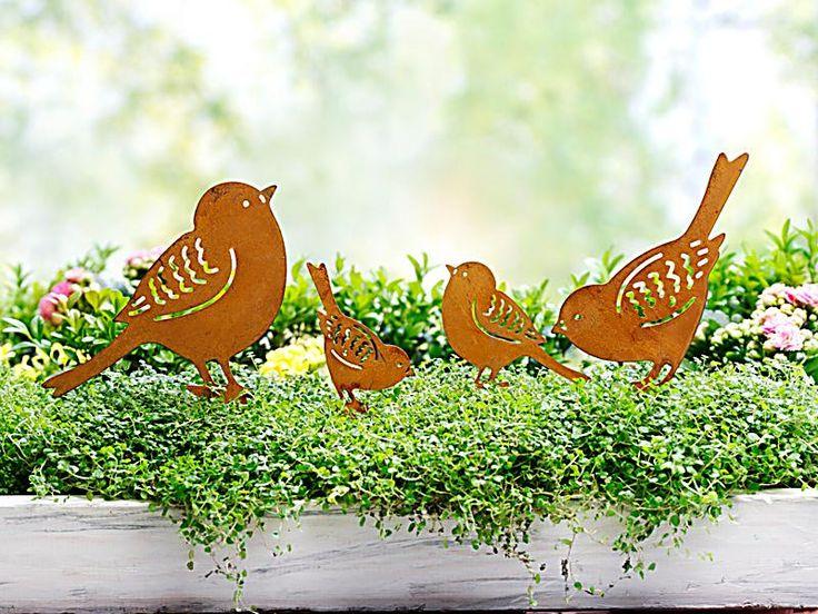 dekostecker vogelfamilie 4er set trender och deko. Black Bedroom Furniture Sets. Home Design Ideas