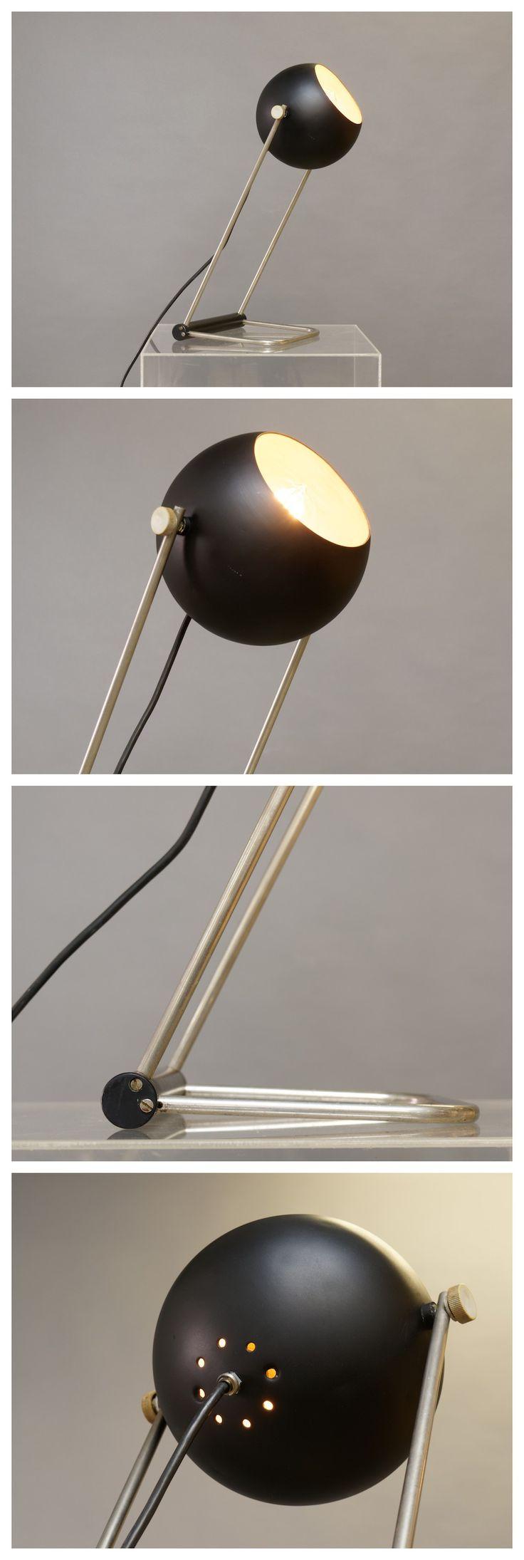 #German nickel table lamp, adjustable, c.1960 _ #1960s