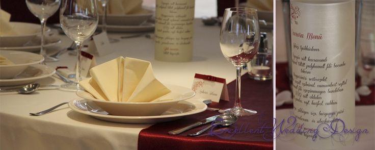 Esküvői dekoráció, asztal teríték, esküvői menükártya
