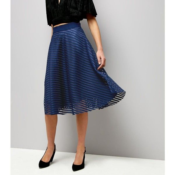 New Look Navy Mesh Stripe Midi Skirt ($36) ❤ liked on Polyvore featuring skirts, navy, striped skirt, calf length skirts, stripe skirt, going out skirts and navy striped skirt