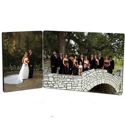 """Hardboard Photo Panels. Two panels, 3.5"""" x 5"""" x .25"""" and 5"""" x 7"""" x .25"""", Hinged Pair. Put the child on one side and the class photo on the other and you will have created a cherished memory!    Great gift item  or special treasure for the baseball team, football team, weddings, graduation. $24.99"""