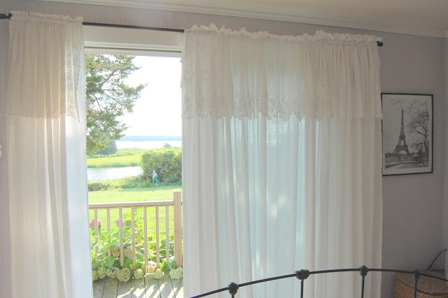 Making curtains from vintage sheets, tea towels and tablecloths is the easiest ever since all the edges are finished and with one fold over and a tunnel stitched for the rod...you're done!! And if you don't sew even a straight line, you can use curtain clips!!