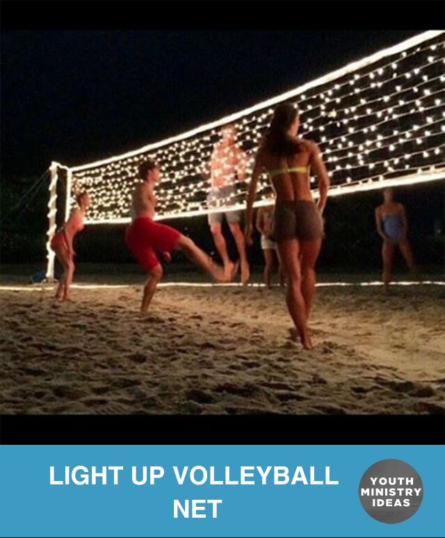 Line your volleyball net with Christmas lights for some night time volleyball! Youth Ministry Ideas and Games.