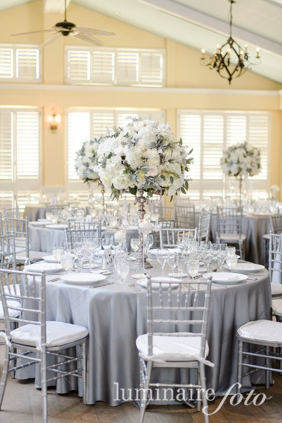 royal blue and silver wedding centerpieces%0A platinum linens  silver chiavari chairs  RitzCarlton Naples