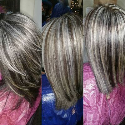 Frosted Blond Highlights Dark Gray Hair Highlights