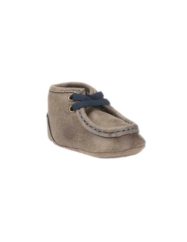Double Barrel Western Infant Brown with Navy Laces Moccasins   Cavender's