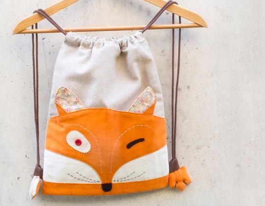 mochila hecha a mano de algodón zorro Paco