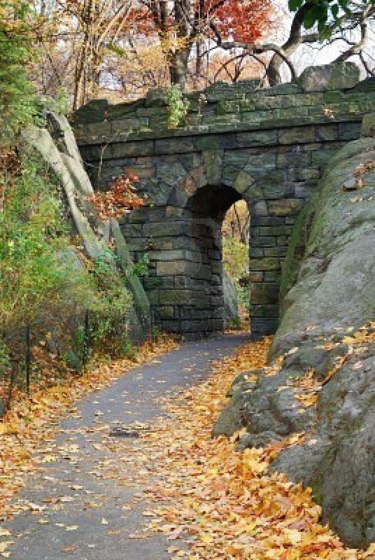 Stone bridge in Autumn in New York City Central park