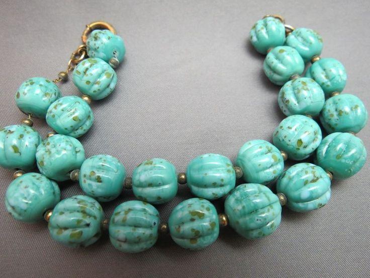 VTG Robin Egg Art Glass Beaded Bracelet Chain Specks Turquoise Blue 2 Strand #Unbranded #Beaded