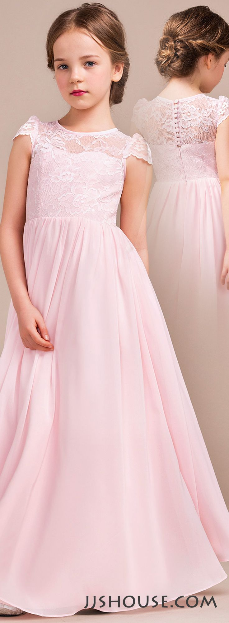 Pinterestteki 25den fazla en iyi junior bridesmaids fikri a lineprincess scoop neck floor length chiffon lace junior bridesmaid dress 009081155 ombrellifo Images