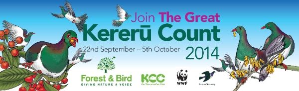 From today until midday on October 5th you can take part in the Great Kereru Count 2014  Anytime you see a kereru during this time, simply visit  kererucount.org.nz to report the sighting.  All New Zealanders taking part in the nationwide Great Kereru Count will help ensure the bounceback of kereru populations.   To find out more, go to www.kererucount.org.nz  The Great Kereru Count is brought to you by Forest & Bird, the Kiwi Conservation Club and Kereru Discovery.