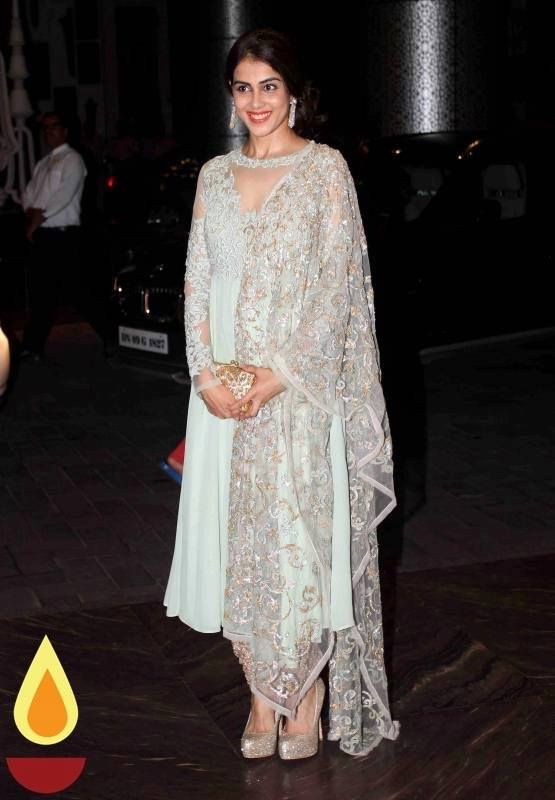 Genelia D'Souza during Bollywood actor Shahid Kapoor wedding reception in Mumbai, India