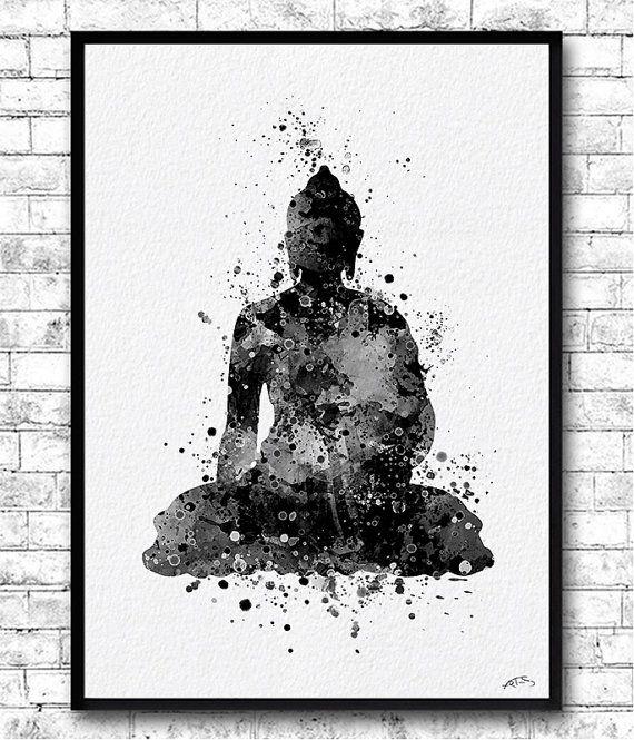 Instant Digital Download Buddha 2 Watercolor Print Buddha Wall Art Yoga Print…