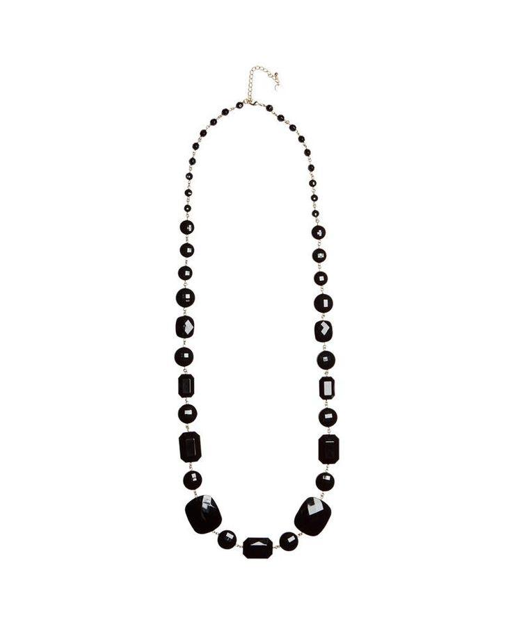 #collana lunga con pietre nere