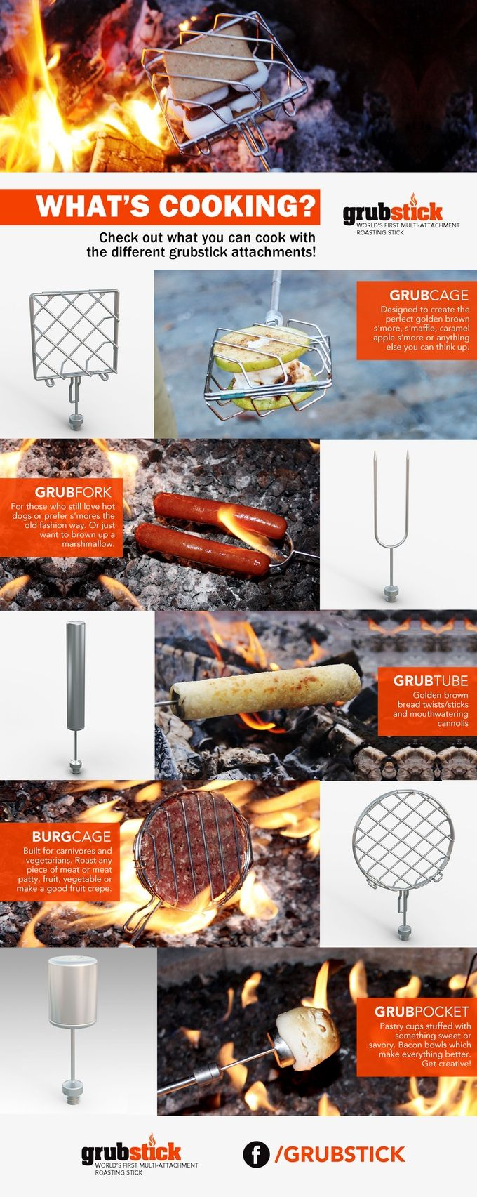 Grubstick - the Swiss army knife of roasting sticks takes open fire roasting to a whole new level.