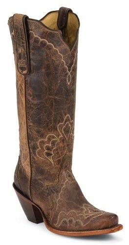 Womens Tony Lama Tan Saigets Worn Goat Cowboy Boot