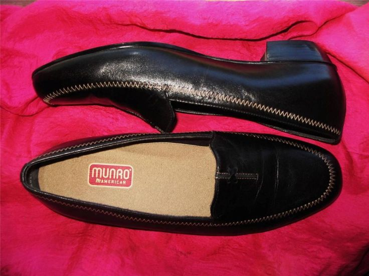 MUNRO SHOES BLACK LEATHER LOAFERS  SIZE 9 W /39.5  MADE IN USA ! #Munro #LoafersMoccasins