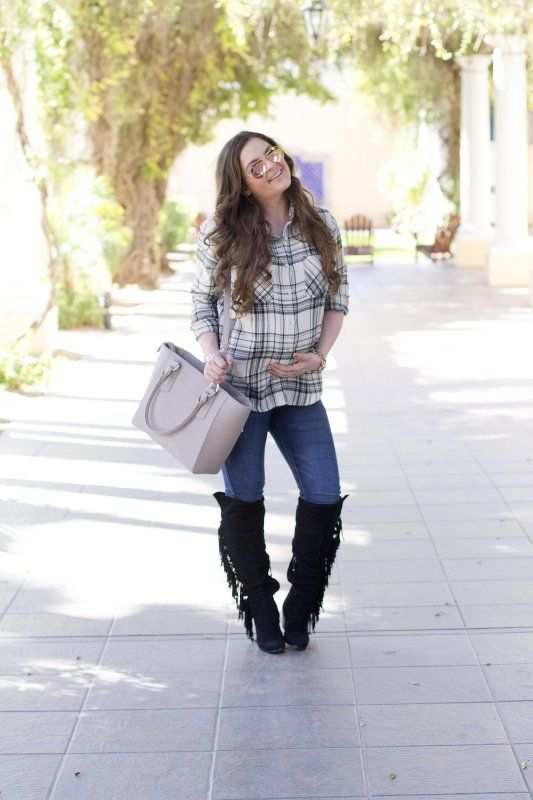 Black & White Plaid   Fashion-Style-Target Style-Fall-Flannel-Casual-Jeans-Pregnancy-35 Weeks Pregnant-Maternity Style-Nordstrom-Dagne Dover Handbags-Hair
