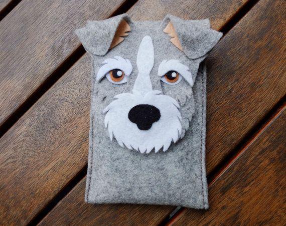 Schnauzer iPhone Case - Dog Felt Phone Cover - Cell Phone Sleeve - Handmade felt case gray $22.24 USD