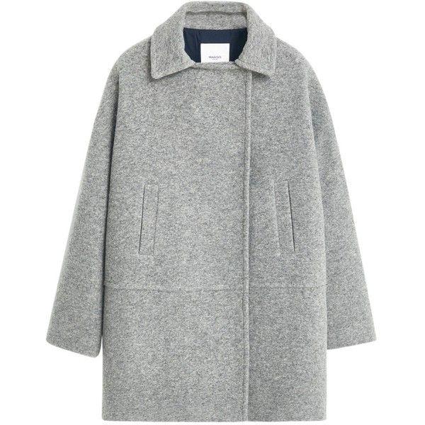 Mango Pockets Wool Coat , Medium Grey found on Polyvore featuring outerwear, coats, jackets, medium grey, cocoon coat, grey coat, woolen coat, wool coat and gray coat