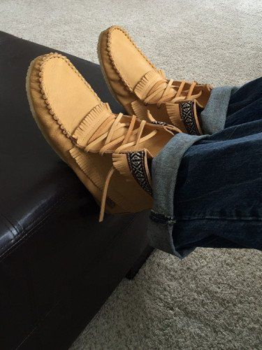 - Description - Details - Sizing - Product Video - These men's ankle high moccasins boots are a favorite for men. Made from high-quality genuine moosehide leather which is durable and flexible in a po