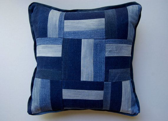 Rail Fence recycled denim pillow cover