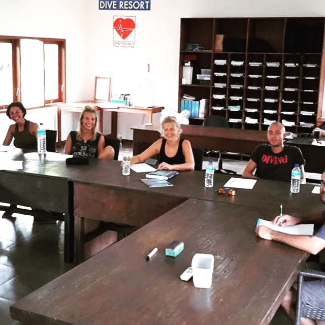 PADI IDC class room at Oceans 5 Gili Air. Lots of space