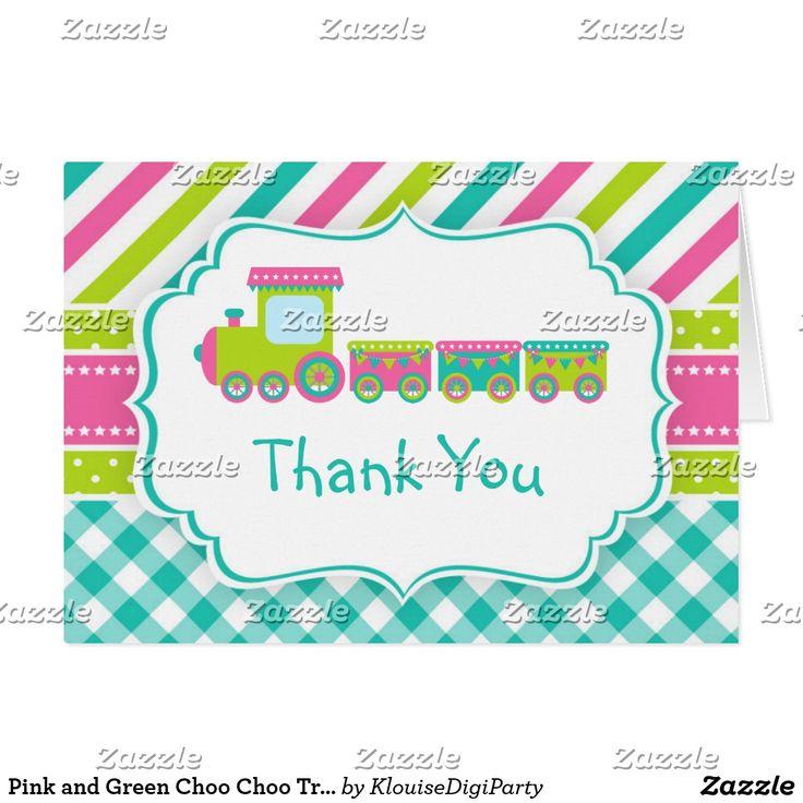 Pink and Green Choo Choo Train Thank You Card