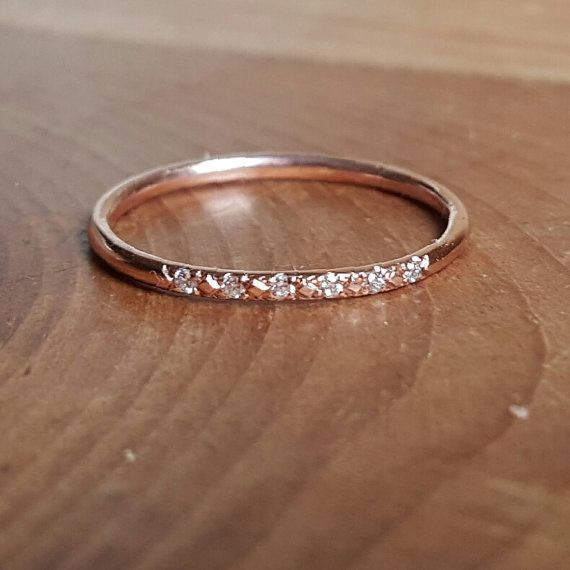 14K Pink Gold Pave Diamond Ring 14K Stacking by TwoFeathersNY http://www.vanasjewelry.com/shop/