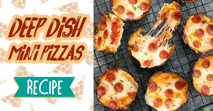 Deep dish mini pizzas are perfect for tiny hands, your kids will love them! #recipe #food