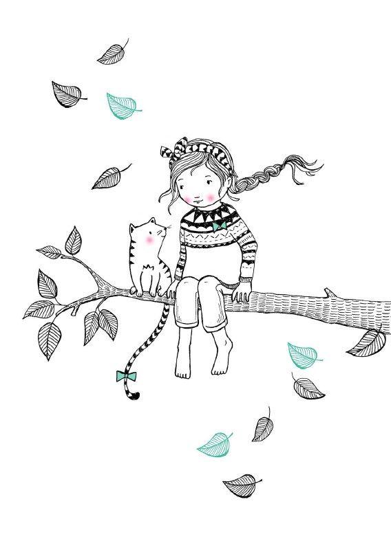Ansichtkaart tree girl | Marieke ten Berge