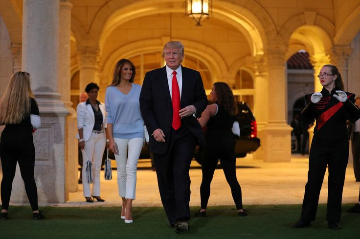 U.S. President Donald Trump and First Lady Melania Trump greet a marching band as they arrive at Trump International Golf club to watch the Super Bowl LI between New England Patriots and Atlanta Falcons in West Palm Beach, Florida, U.S.,  February 5, 2017. REUTERS/Carlos Barria via @AOL_Lifestyle Read more: https://www.aol.com/article/news/2017/03/20/confederate-flag-raised-next-to-ncaa-tournament-venue-in-south-c/21903774/?a_dgi=aolshare_pinterest#fullscreen