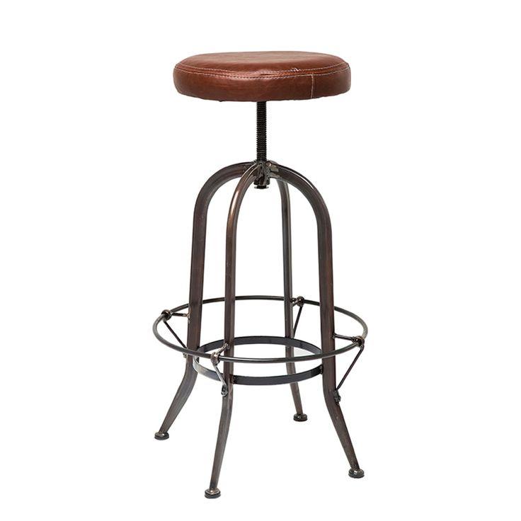 Stilsäker barstol med stålunderrede och mjuk höj- och sänkbar sits i bicastläder. Tydlig industrilook. Bra pris! Material: underrede: stål, sits: bicastläde...