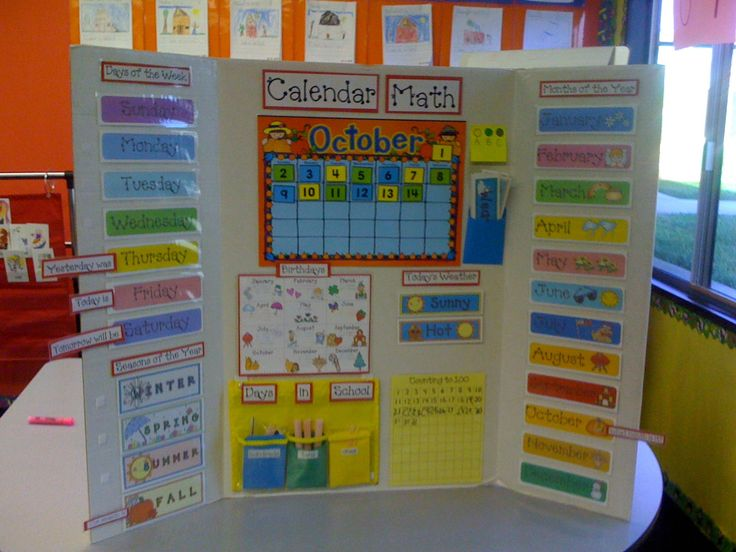 "If you don't have the wall space for all the stuff you want for ""Calendar Time"", this idea could work.  You can find these tri-fold boards at Walmart.  It can be easily tucked away to be pulled out at the beginning of each school day."